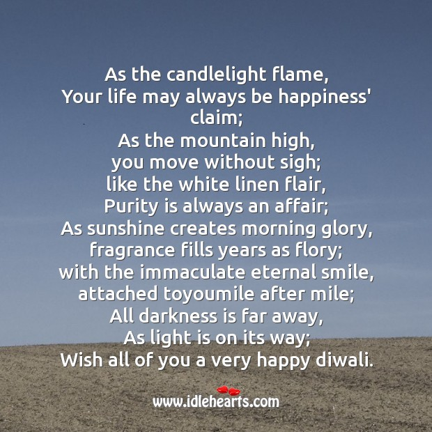 As the candlelight flame Diwali Messages Image