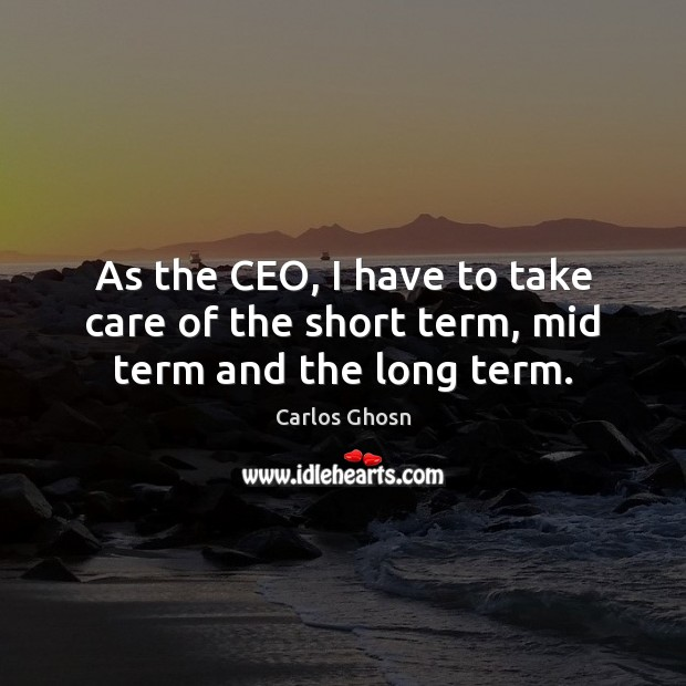 Image, As the CEO, I have to take care of the short term, mid term and the long term.