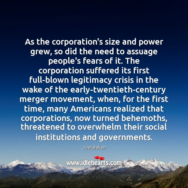 Image, As the corporation's size and power grew, so did the need to