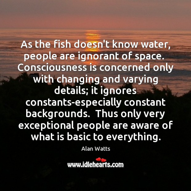 Image, As the fish doesn't know water, people are ignorant of space.  Consciousness