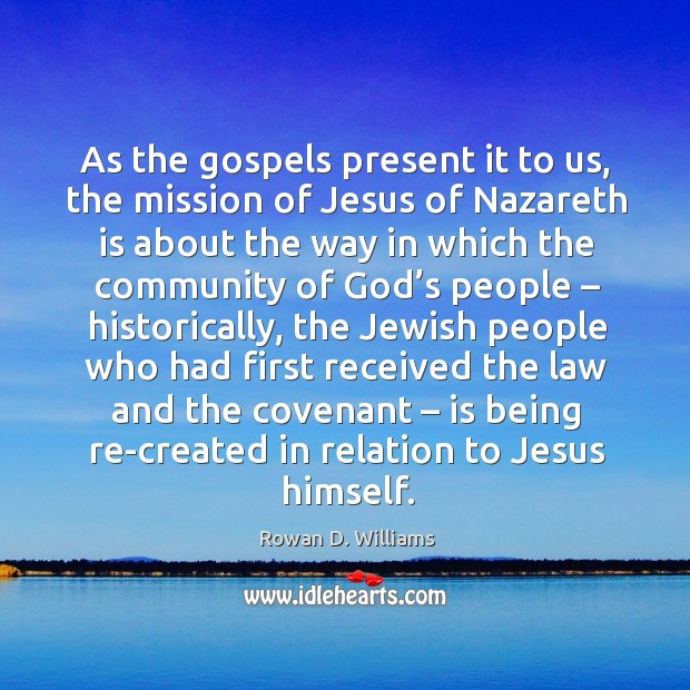 Image, As the gospels present it to us, the mission of jesus of nazareth
