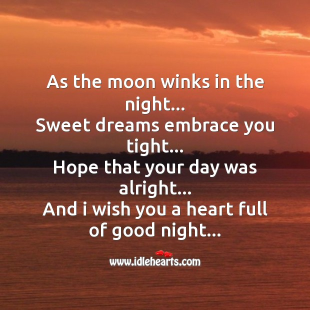 As the moon winks in the night Good Night Messages Image