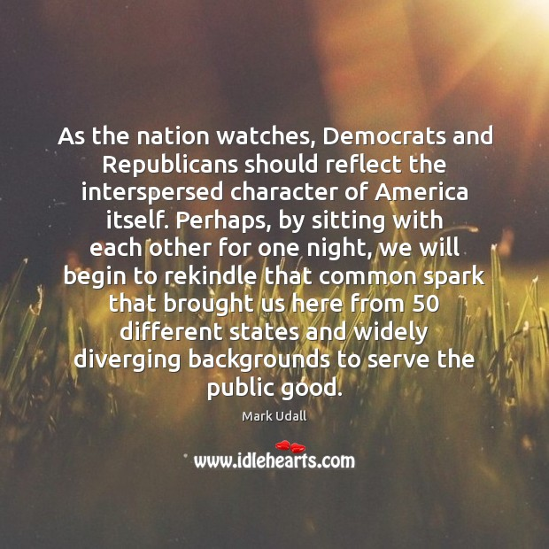 As the nation watches, Democrats and Republicans should reflect the interspersed character Image