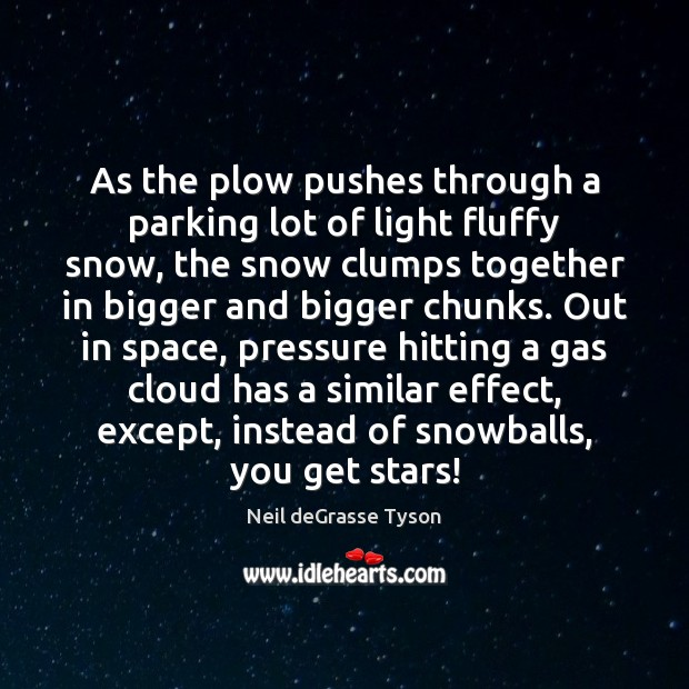 As the plow pushes through a parking lot of light fluffy snow, Image