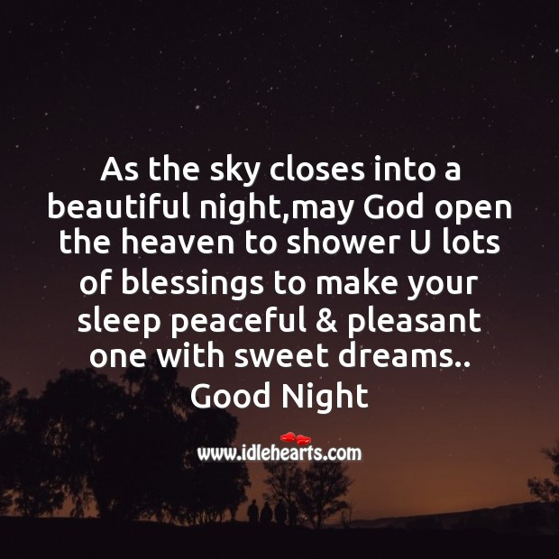 As the sky closes into a beautiful night Good Night Messages Image