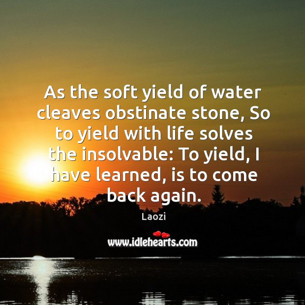 Image, As the soft yield of water cleaves obstinate stone, so to yield with life solves the insolvable