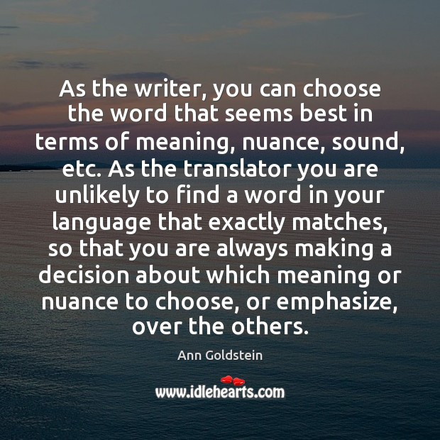 Image, As the writer, you can choose the word that seems best in