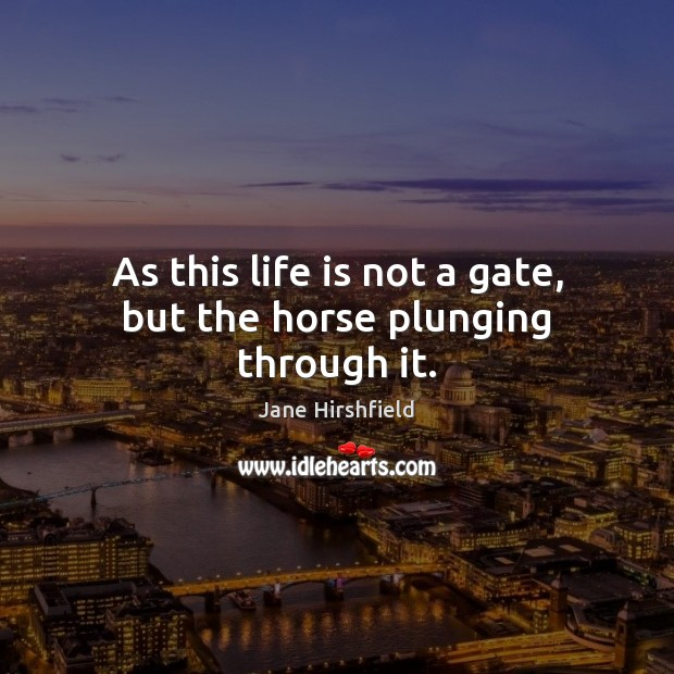 As this life is not a gate, but the horse plunging through it. Image