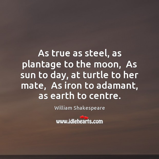 Image, As true as steel, as plantage to the moon,  As sun to