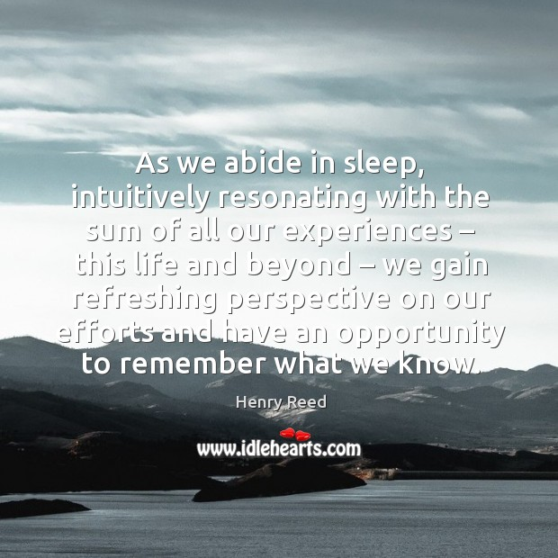 As we abide in sleep, intuitively resonating with the sum of all our experiences Image
