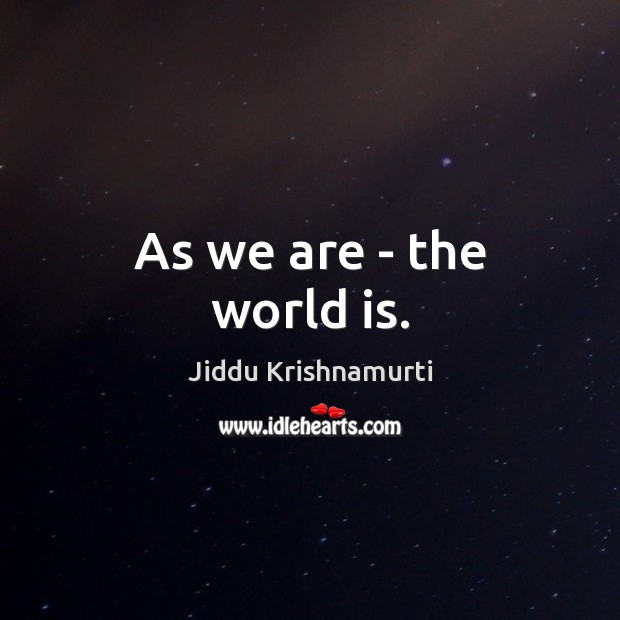 Image, As we are – the world is.