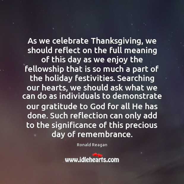 Image, As we celebrate Thanksgiving, we should reflect on the full meaning of