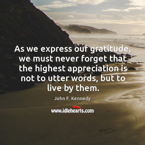 Image, As we express our gratitude, we must never forget that the highest appreciation is not to utter words