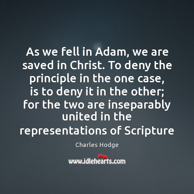 As we fell in Adam, we are saved in Christ. To deny Charles Hodge Picture Quote