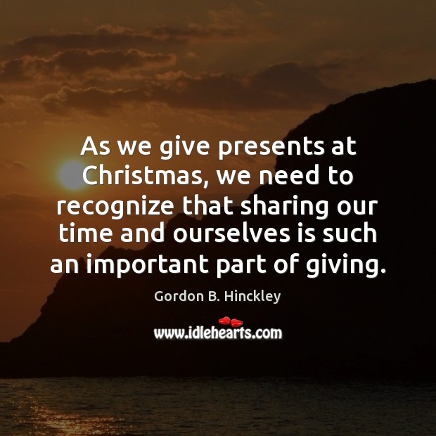 Image, As we give presents at Christmas, we need to recognize that sharing