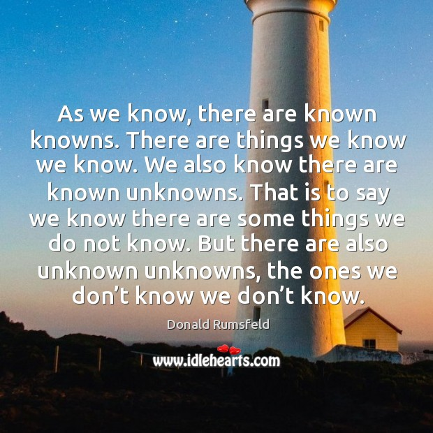 As we know, there are known knowns. There are things we know we know. Image