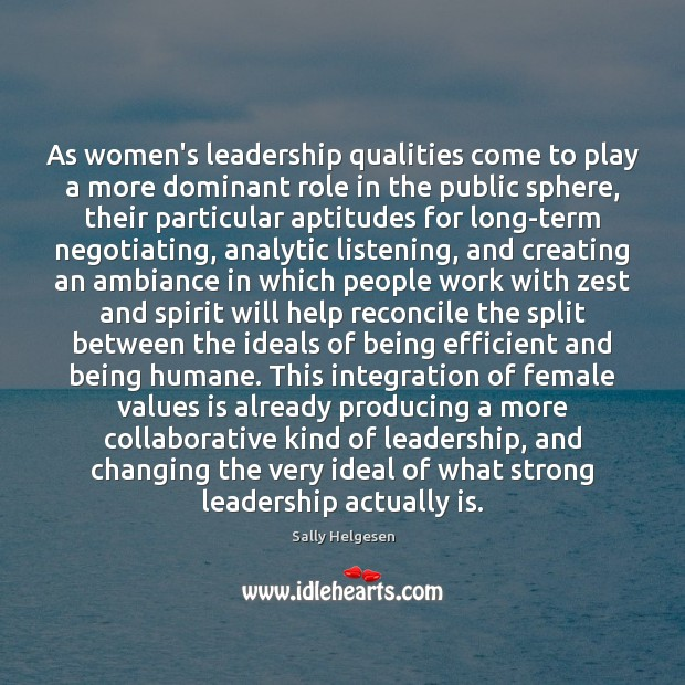 Image, As women's leadership qualities come to play a more dominant role in