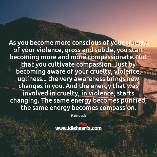 Image, As you become more conscious of your cruelty, of your violence, gross
