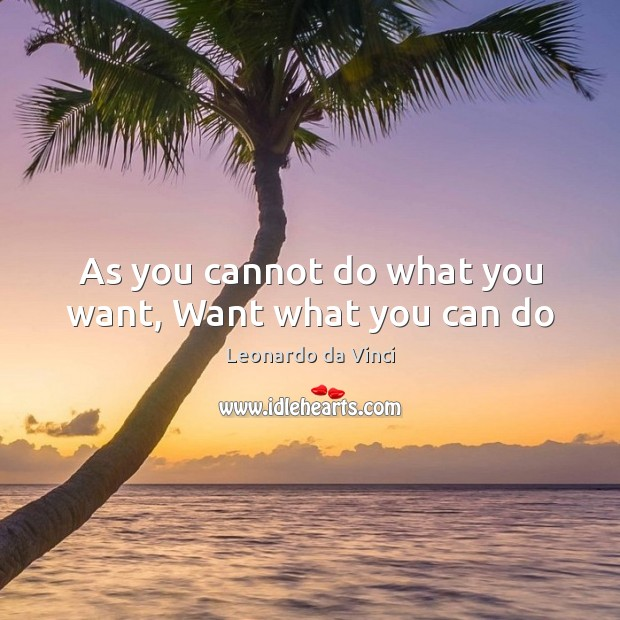 As you cannot do what you want, Want what you can do Leonardo da Vinci Picture Quote