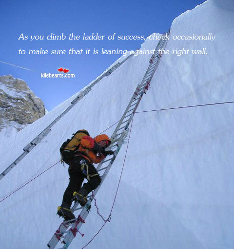 As You climb The Ladder Of Success, Check Occasionally To….