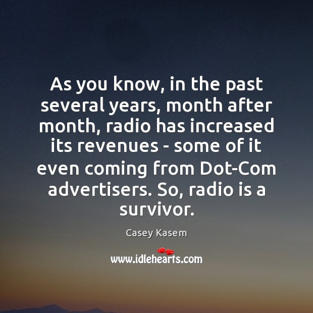 Image, As you know, in the past several years, month after month, radio
