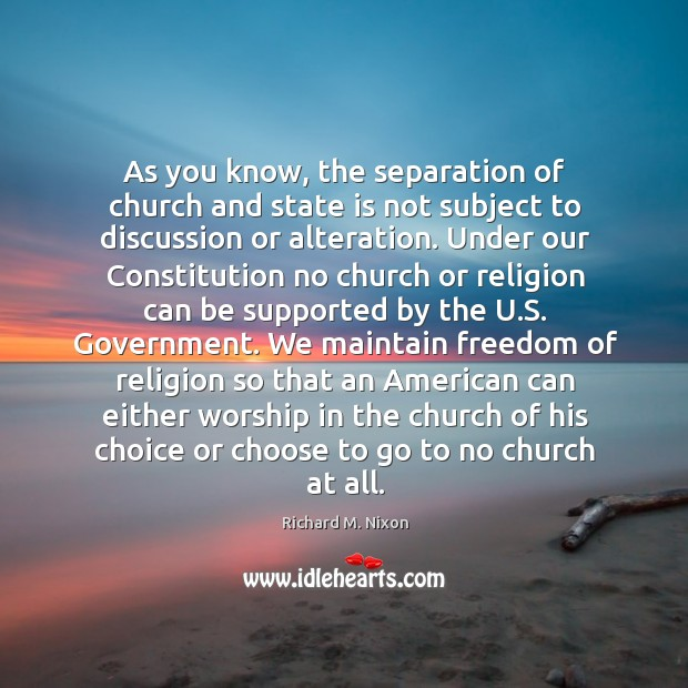 Image, As you know, the separation of church and state is not subject