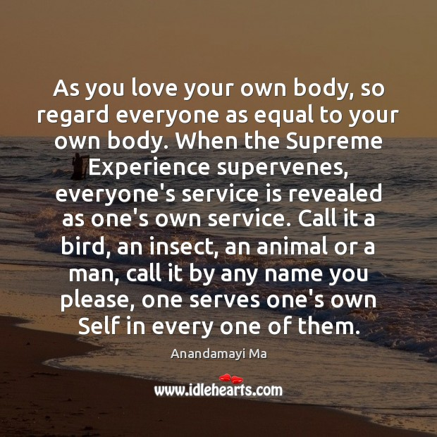 Image, As you love your own body, so regard everyone as equal to