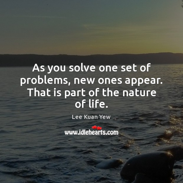 As you solve one set of problems, new ones appear. That is part of the nature of life. Image