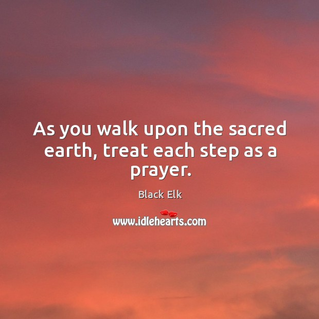 As you walk upon the sacred earth, treat each step as a prayer. Image
