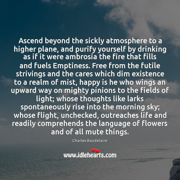 Ascend beyond the sickly atmosphere to a higher plane, and purify yourself Charles Baudelaire Picture Quote
