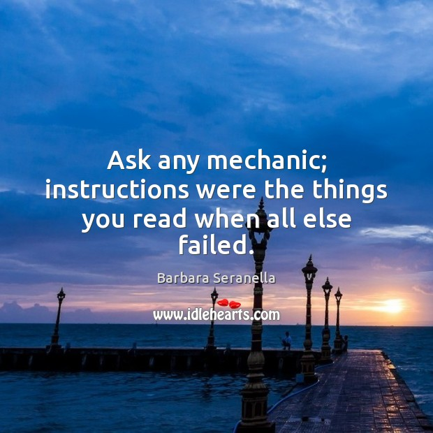 Image, Ask any mechanic; instructions were the things you read when all else failed.