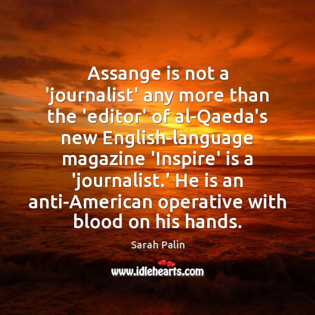 Image, Assange is not a 'journalist' any more than the 'editor' of al-Qaeda's
