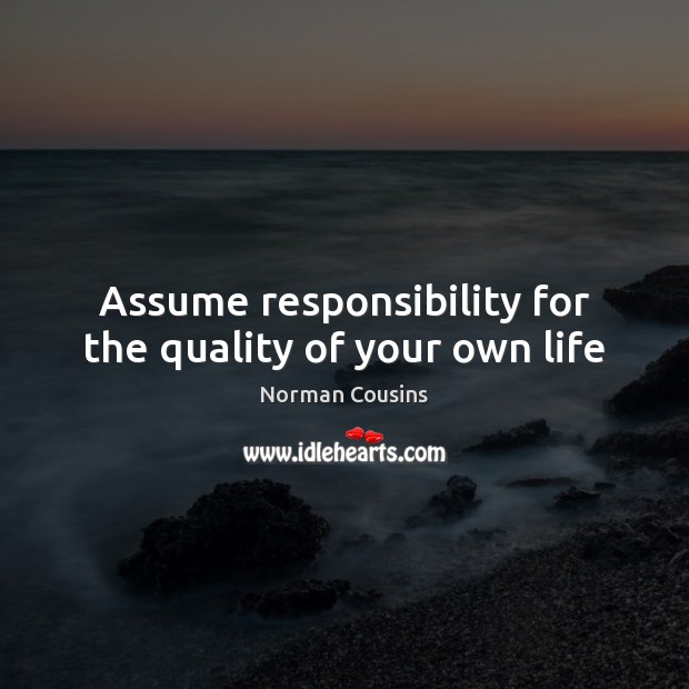 Assume responsibility for the quality of your own life Norman Cousins Picture Quote