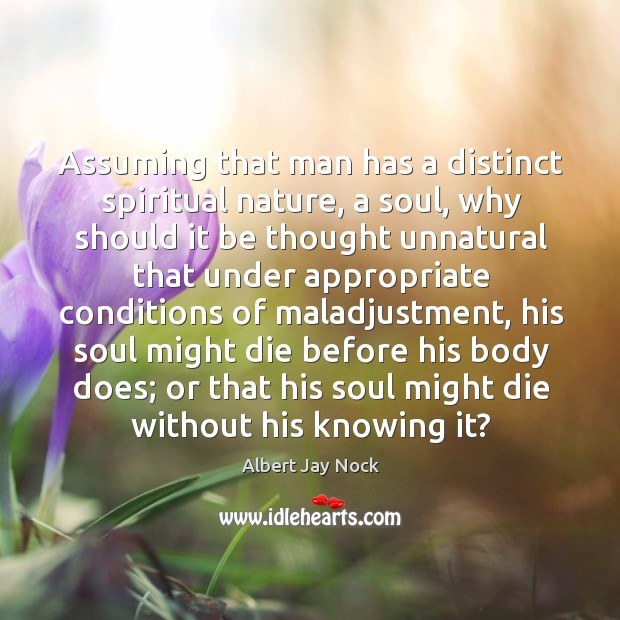 Image, Assuming that man has a distinct spiritual nature, a soul, why should it be thought