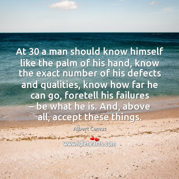 Image, At 30 a man should know himself like the palm of his hand, know the exact number
