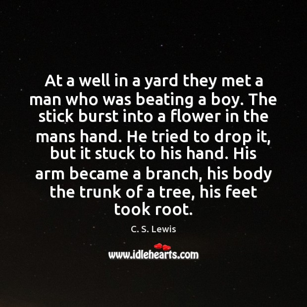 At a well in a yard they met a man who was Image