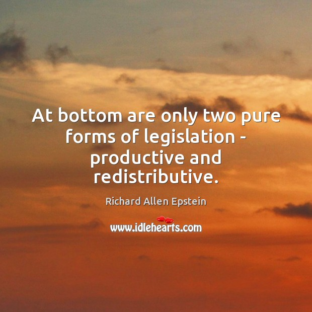 At bottom are only two pure forms of legislation – productive and redistributive. Image