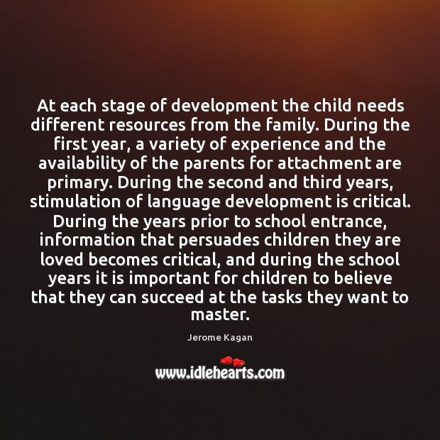 At each stage of development the child needs different resources from the Image