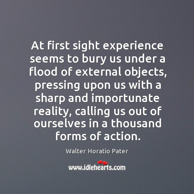 At first sight experience seems to bury us under a flood of external objects, pressing upon Walter Horatio Pater Picture Quote