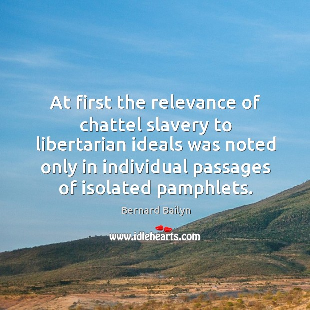 At first the relevance of chattel slavery to libertarian ideals was noted Image