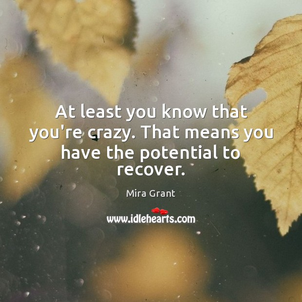 At least you know that you're crazy. That means you have the potential to recover. Mira Grant Picture Quote