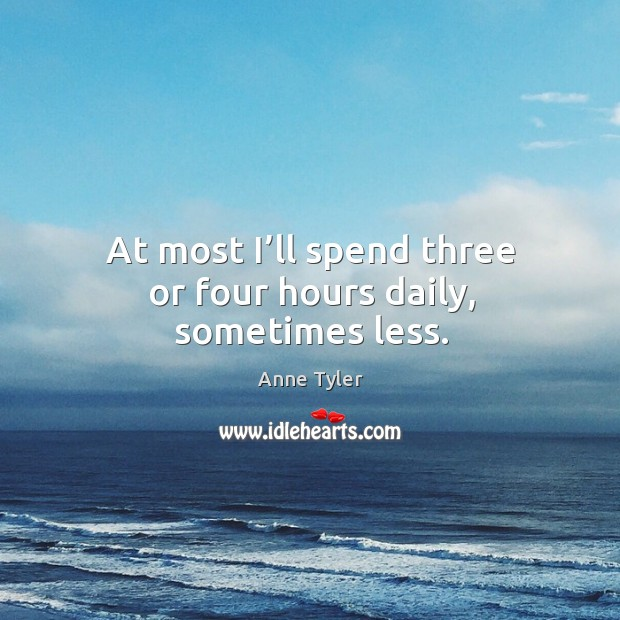Image, At most I'll spend three or four hours daily, sometimes less.
