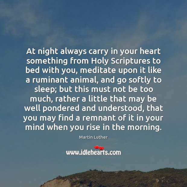 At night always carry in your heart something from Holy Scriptures to Image