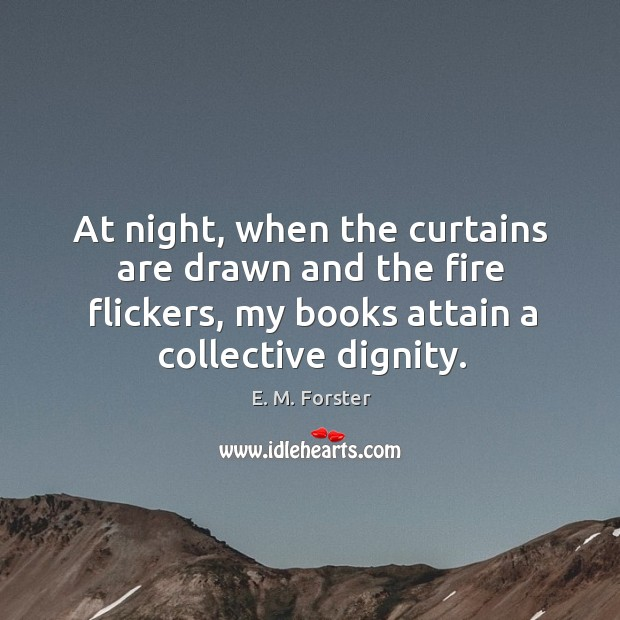 Image, At night, when the curtains are drawn and the fire flickers, my books attain a collective dignity.