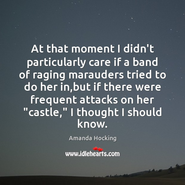 At that moment I didn't particularly care if a band of raging Amanda Hocking Picture Quote