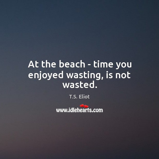 At the beach – time you enjoyed wasting, is not wasted. T.S. Eliot Picture Quote