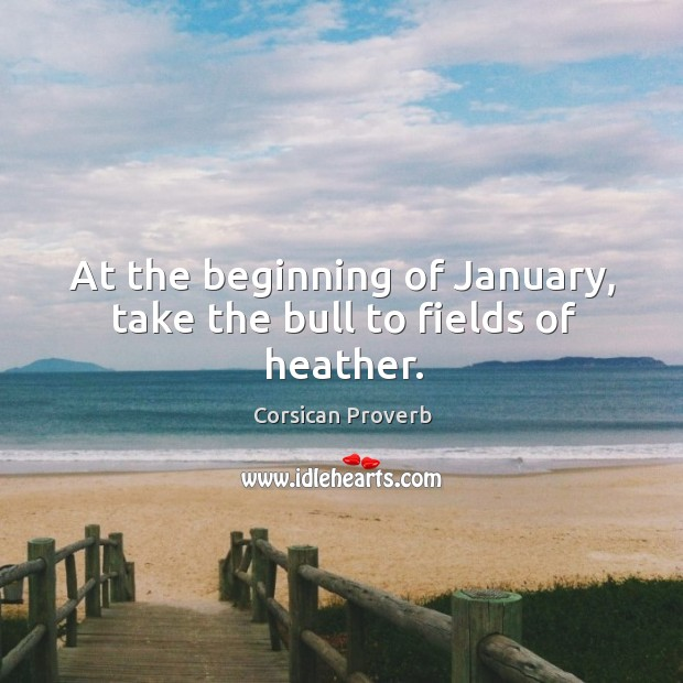 At the beginning of january, take the bull to fields of heather. Corsican Proverbs Image