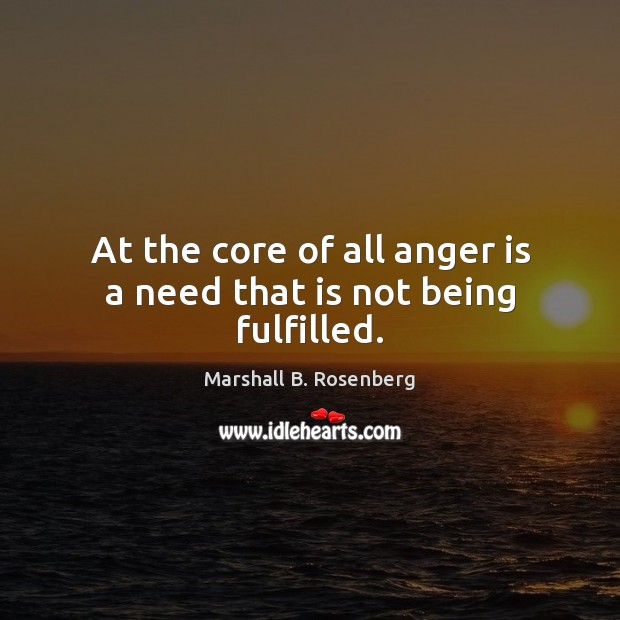 Image, At the core of all anger is a need that is not being fulfilled.