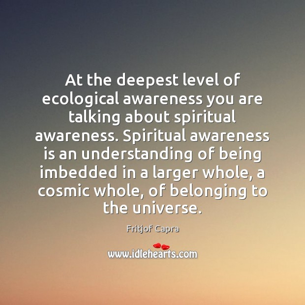 At the deepest level of ecological awareness you are talking about spiritual Image