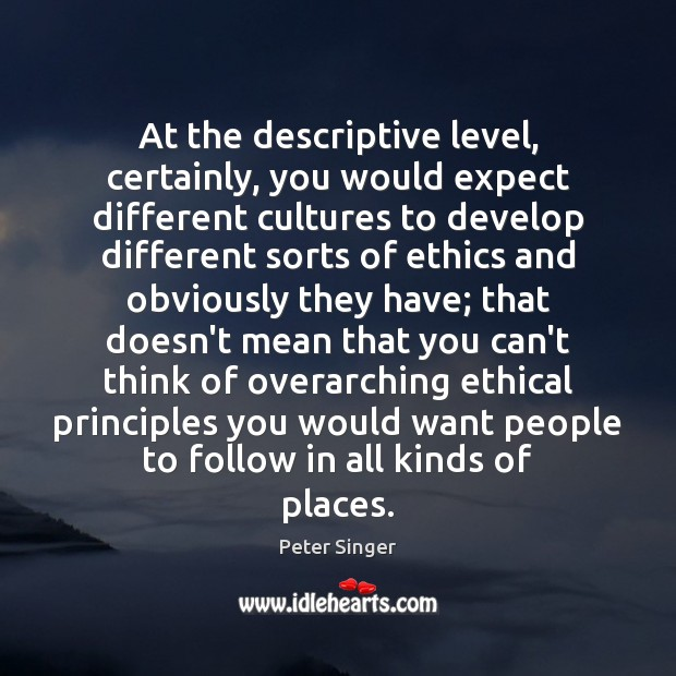 At the descriptive level, certainly, you would expect different cultures to develop Image